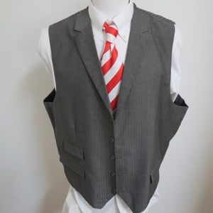 Sz 56R Gray Solid Azzuro Mens Rayon #21F Suit Vest
